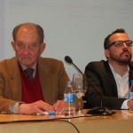 El historiador Nicolás Sánchez Albornoz , y Curro Corrales, concejal de Cultura de Rivas